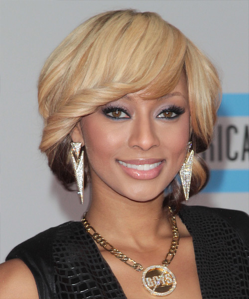Keri Hilson Medium Wavy   Light Mocha Blonde and Champagne Two-Tone   Hairstyle with Side Swept Bangs