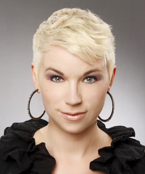 Short Straight Casual  Pixie  Hairstyle with Side Swept Bangs  - Platinum Hair Color