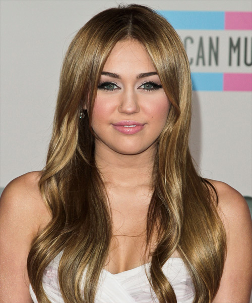 Miley Cyrus Long Straight Casual    Hairstyle   - Honey Hair Color