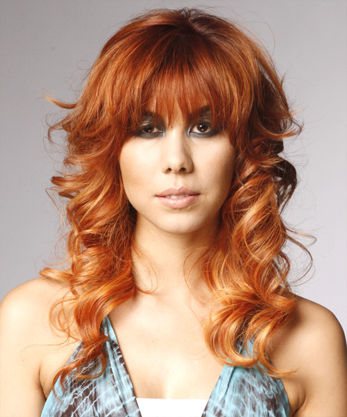 Long Curly   Orange Golden    Hairstyle with Razor Cut Bangs
