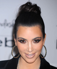 Kim Kardashian  Long Straight Formal   Updo Hairstyle   - Black  Hair Color