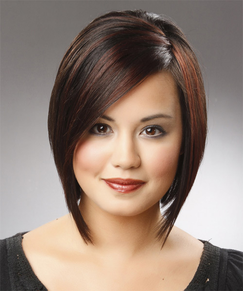 Medium Straight   Black Chestnut  Bob  Haircut