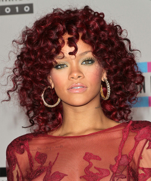 Rihanna Medium Curly Casual    Hairstyle   -  Red Hair Color