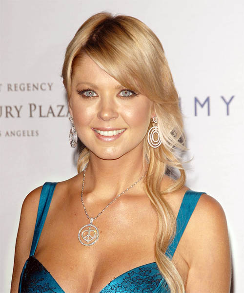 Tara Reid Long Wavy Formal   Half Up Hairstyle