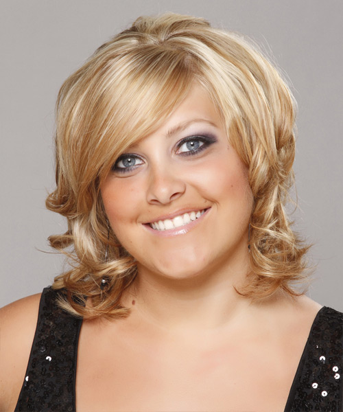 Short Wavy Formal   Hairstyle with Side Swept Bangs  - Medium Blonde (Golden)