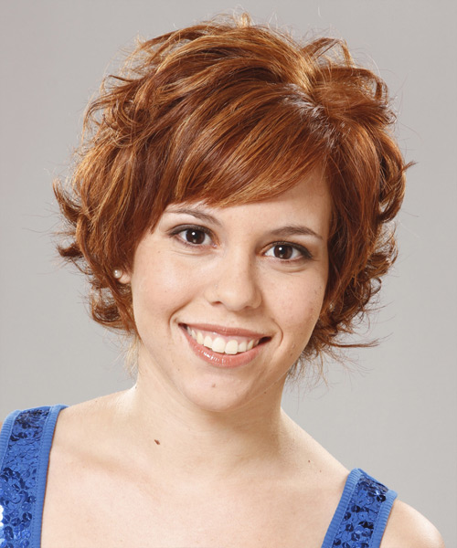 Short Wavy Formal   Hairstyle with Side Swept Bangs  - Medium Red (Ginger)