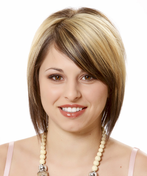 Short Straight Casual    Hairstyle with Side Swept Bangs  - Light Chocolate Blonde Hair Color