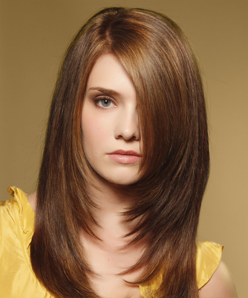 Long Straight    Caramel Brunette   Hairstyle