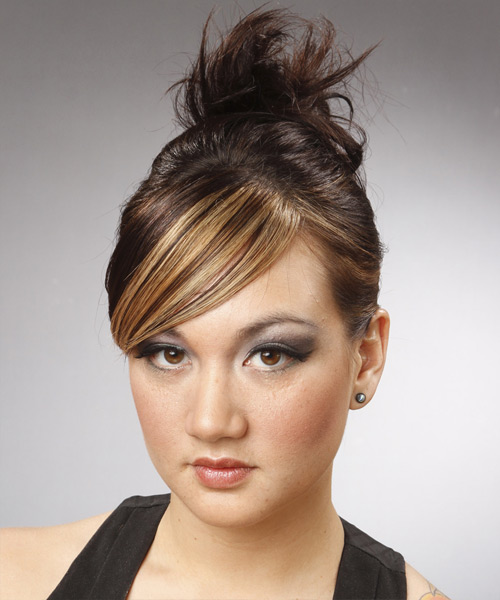 Long Straight Casual   Updo Hairstyle with Side Swept Bangs  - Dark Brunette and Light Blonde Two-Tone Hair Color