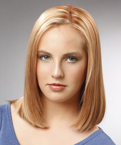 Medium Straight Formal  Bob  Hairstyle   - Light Copper Blonde Hair Color