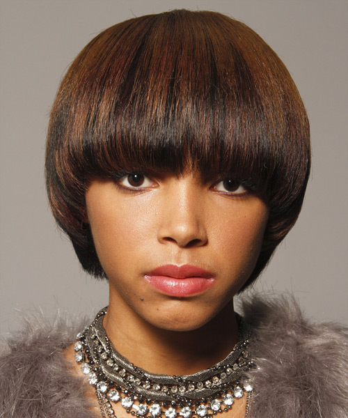 Short Straight Formal    Hairstyle with Blunt Cut Bangs  - Dark Brunette Hair Color