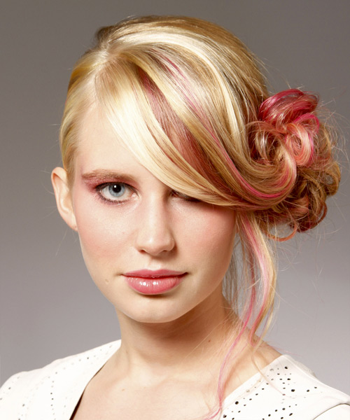Long Curly   Light Bright Blonde  Updo    with Pink Highlights