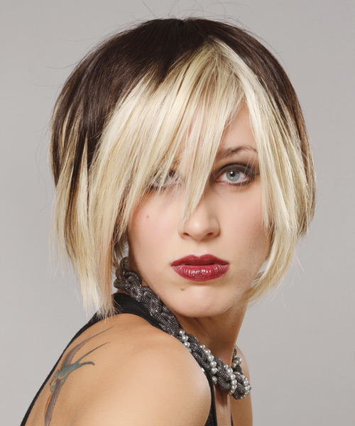Short Straight Casual    Hairstyle with Razor Cut Bangs  - Dark Platinum Brunette Hair Color