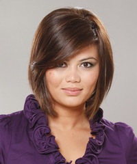 Short Straight Casual  Bob  Hairstyle with Side Swept Bangs  -  Brunette Hair Color
