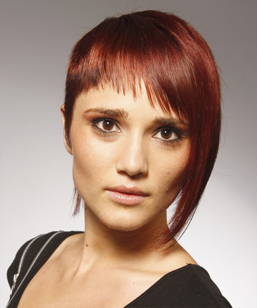 Short Straight    Red   Hairstyle with Asymmetrical Bangs