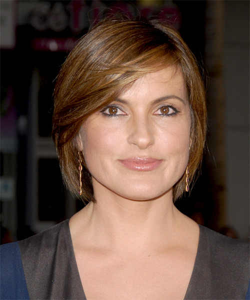 Mariska Hargitay Medium Straight Formal  Bob  Hairstyle with Side Swept Bangs  -  Brunette Hair Color