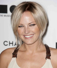 Malin Akerman  Long Straight Casual  Pixie Updo Hairstyle   - Light Blonde and Dark Brunette Two-Tone Hair Color