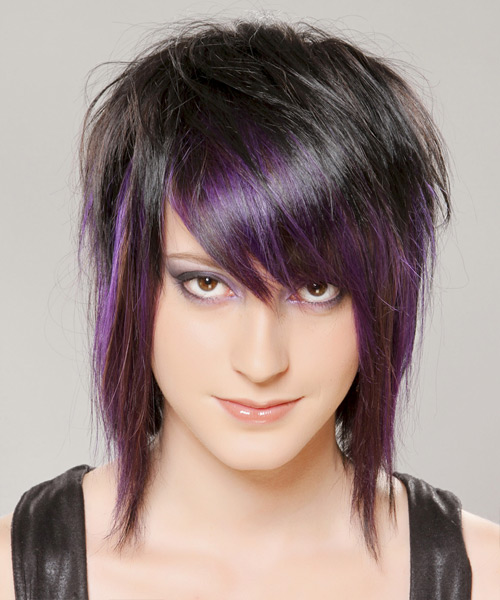 Medium Straight   Purple  and Black Two-Tone   Hairstyle with Razor Cut Bangs