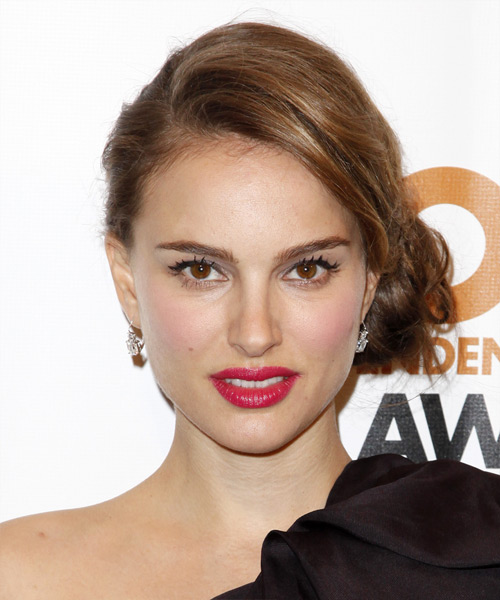 Natalie Portman  Long Curly Formal   Updo Hairstyle   - Medium Caramel Brunette Hair Color