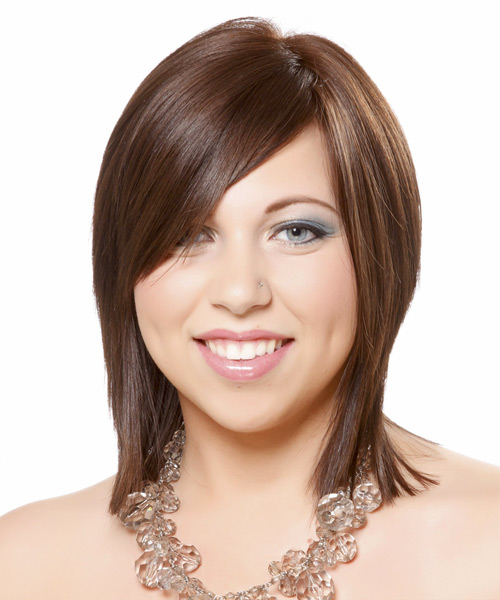 Medium Straight Formal    Hairstyle with Side Swept Bangs  -  Brunette Hair Color