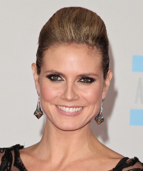 Heidi Klum  Long Straight Formal   Updo Hairstyle   - Medium Caramel Brunette Hair Color