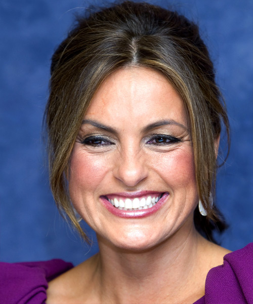 Mariska Hargitay  Long Straight Casual   Updo Hairstyle   - Dark Brunette Hair Color
