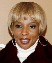 Mary J.Blige Short Straight Formal  Pixie  Hairstyle with Blunt Cut Bangs  -  Blonde Hair Color