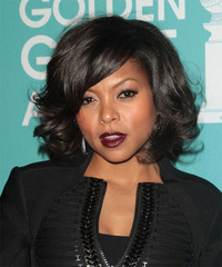 Taraji P. Henson Medium Wavy Formal    Hairstyle with Side Swept Bangs  - Black  Hair Color