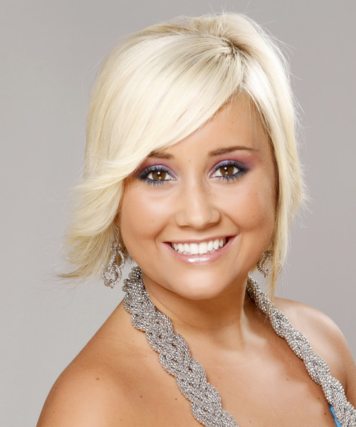 Short Straight Casual    Hairstyle   - Light Platinum Blonde Hair Color