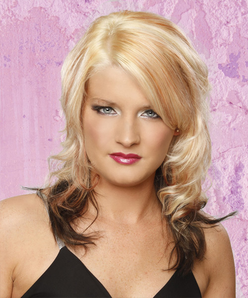Medium Wavy Formal    Hairstyle   - Platinum and Champagne Two-Tone Hair Color