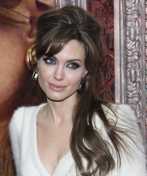 Angelina Jolie  Long Straight Casual   Half Up Hairstyle with Side Swept Bangs  -  Brunette Hair Color