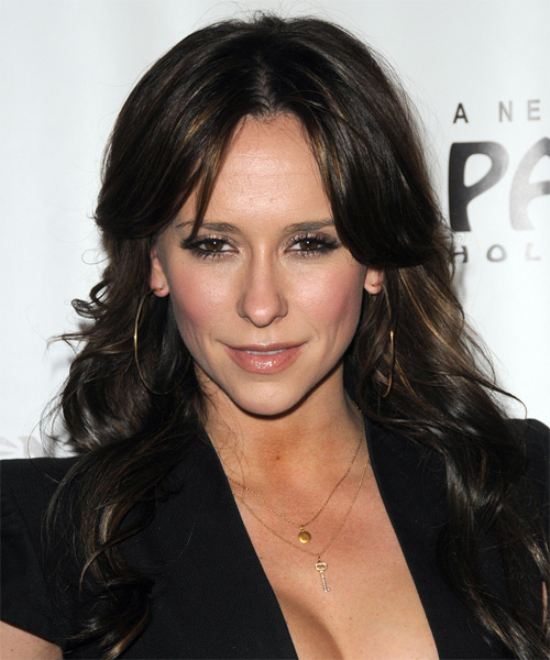 Jennifer Love Hewitt Long Wavy Casual    Hairstyle   - Dark Brunette Hair Color