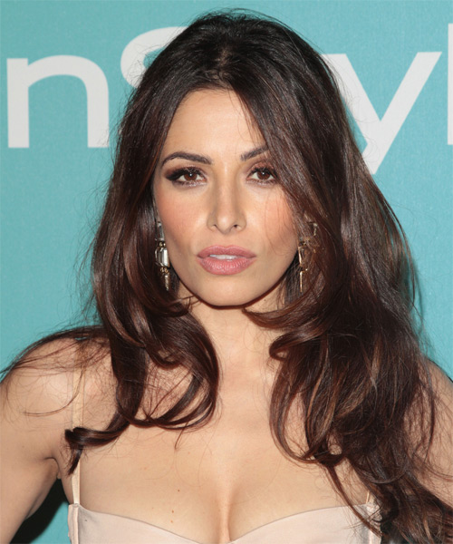 Sarah Shahi Long Straight Casual    Hairstyle   - Mocha Hair Color