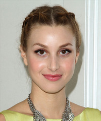 Whitney Port  Long Curly Formal  Braided Updo Hairstyle   -  Brunette Hair Color