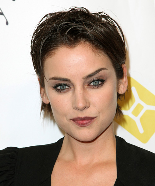 Jessica Stroup Short Straight Casual  Pixie  Hairstyle   - Dark Brunette Hair Color