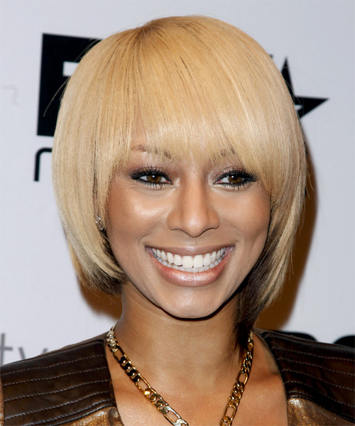 Keri Hilson Short Straight Alternative  Bob  Hairstyle with Blunt Cut Bangs  - Light Blonde and Dark Brunette Two-Tone Hair Color