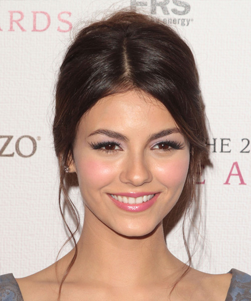 Victoria Justice  Long Straight Formal   Updo Hairstyle   - Dark Brunette Hair Color