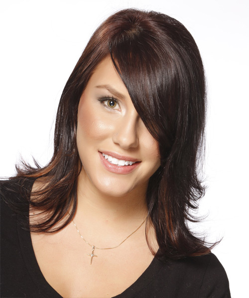 Medium Straight Formal    Hairstyle with Side Swept Bangs  - Dark Red Hair Color