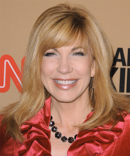 Leeza Gibbons Long Straight Formal    Hairstyle with Side Swept Bangs  - Light Blonde Hair Color