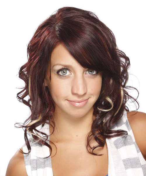 Medium Curly Formal    Hairstyle with Side Swept Bangs  - Medium Red Hair Color with Light Blonde Highlights