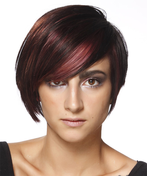 Short Straight Casual  Pixie  Hairstyle   - Black Mahogany  Hair Color