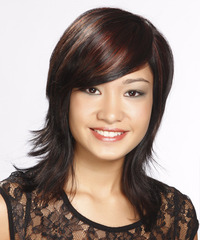 Medium Straight Casual    Hairstyle with Side Swept Bangs  - Black Mahogany  Hair Color