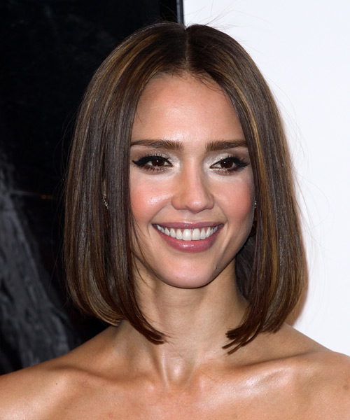 Jessica Alba Medium Straight   Dark Brunette Bob  Haircut   with Light Brunette Highlights