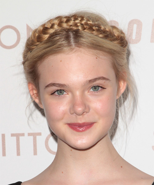 Elle Fanning  Long Curly Formal  Braided Updo Hairstyle   - Light Blonde Hair Color