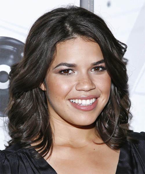 America Ferrera Medium Wavy Formal   Hairstyle