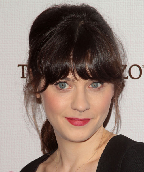 Zooey Deschanel  Long Straight   Dark Brunette  Updo  with Blunt Cut Bangs