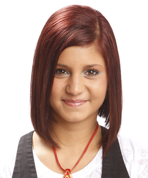 Medium Straight Formal   Hairstyle   - Dark Red