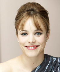 Rachel McAdams  Long Straight    Brunette  Updo  with Side Swept Bangs