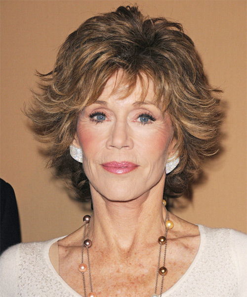 Jane Fonda Short Straight Formal    Hairstyle   - Light Brunette Hair Color