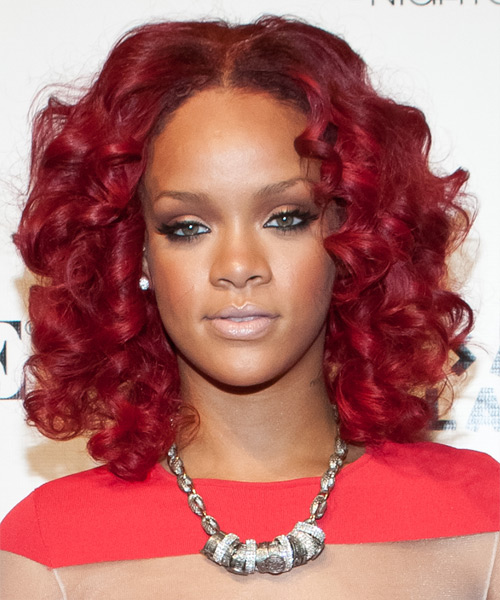 Rihanna Medium Curly Formal Layered Bob  Hairstyle   - Medium Bright Red Hair Color